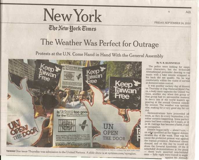 102 NY TIMES Keep Taiwan Free on Sept. 24, 2010 P A21